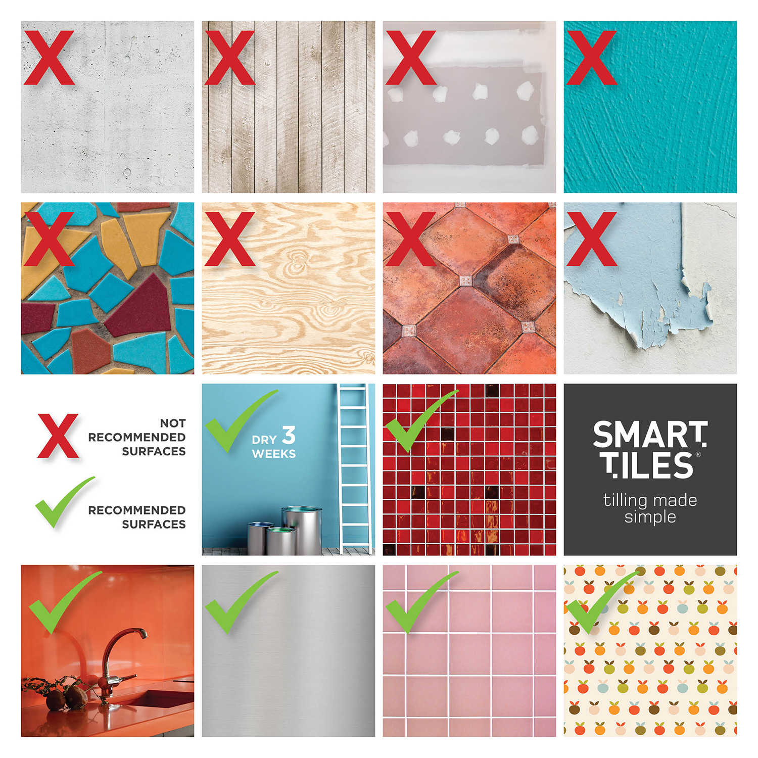 Smart Tiles 11.56 in x 8.38 in Peel and Stick Self-Adhesive Mosaic Backsplash Wall Tile - Metro Gallino (each)