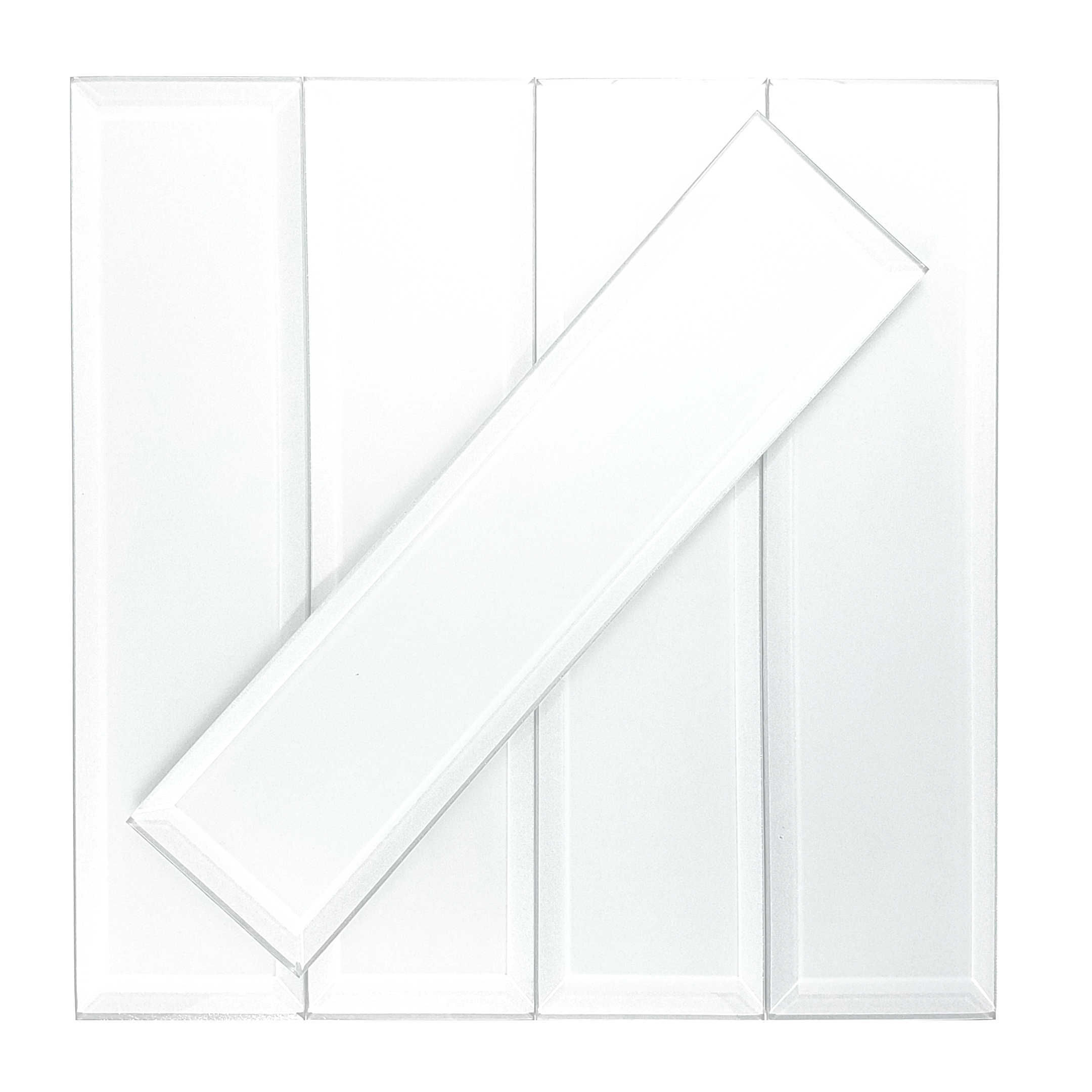 Abolos- Frosted Elegance 3' x 12' Glass Subway Tiles in Glossy White (14sqft / 56pc Box)