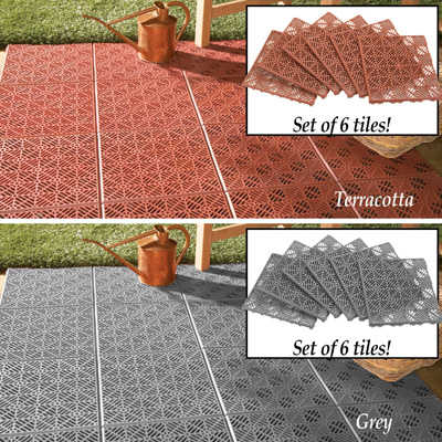 Interlocking Patio Tile Flooring - 6 pc Terracotta