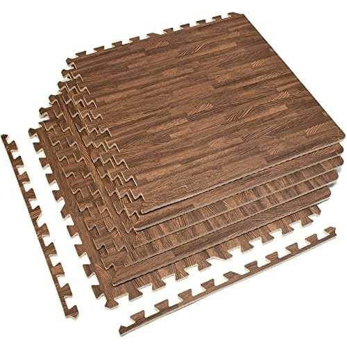 Interlocking Floor Mat - Dark Wood Grain Print, 6 Pieces